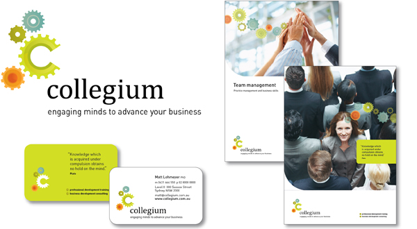 Designed the brand for Collegium, including the logo, business card, stationery and MS Templates